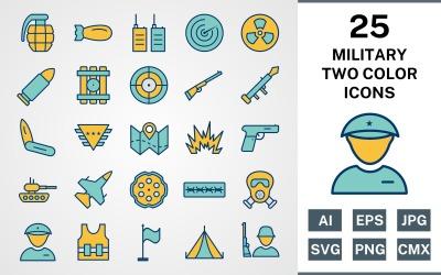 Conjunto de ícones do PACOTE DE DUAS CORES COM 25 MILITARES