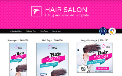 Friseursalon-Vorlagen - HTML5 Design Animated Banner