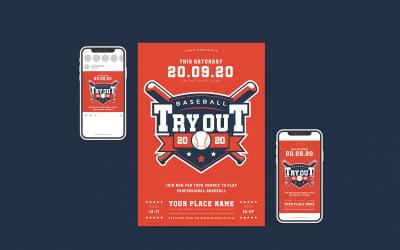 Baseball Tryout Flyer Set - Corporate Identity Template