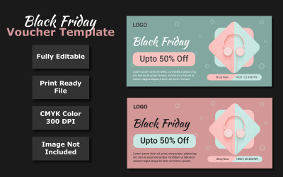 Black Friday Discount Voucher Template - Vector Image