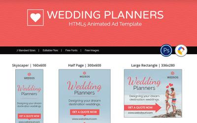 Bannière animée de planificateur de mariage