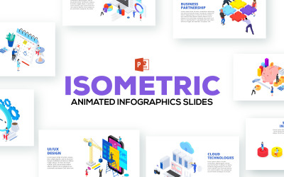 Isometric Animated Illustrations PowerPoint template