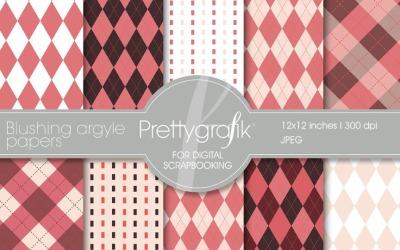 Červenající se digitální papír Argyle - vektorový obrázek