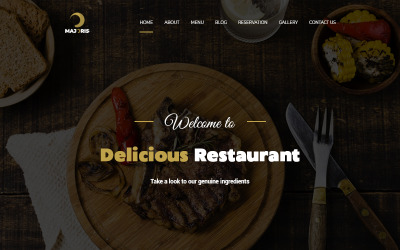 Majoris - PSD шаблон для одной страницы ресторана
