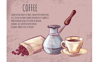 Cup of Coffee, Beans and Pot Tool, Postcard - Vector Image