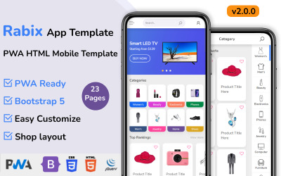 Rabix - Multipurpose Ecommerce Mobile HTML Template