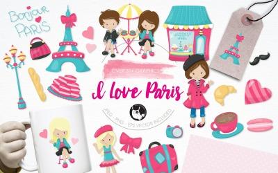 Szeretem Párizs illusztráció csomag - vektor kép