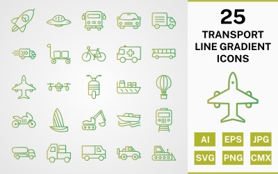 Conjunto de 25 pacotes de ícones de gradiente de linha de transporte