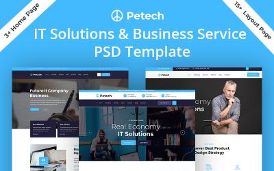 Шаблон PSD для ИТ-решений и бизнес-услуг Petech