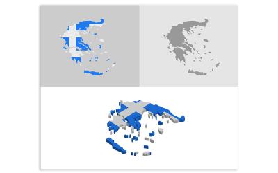 3D和平面希腊地图-矢量图像