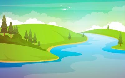 River Mountain Landscape - Illustration
