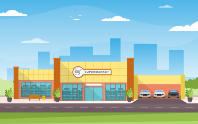 Внешний вид здания магазина - Иллюстрация