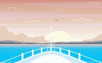 Okyanus, deniz, peyzaj, -, resimleme