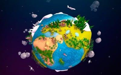 Cartoon Lowpoly Earth Planet 2 UVW 3D Model