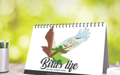 Modello di logo di vita degli uccelli