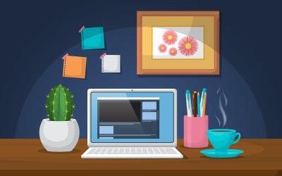 Робота офісний стіл - ілюстрація