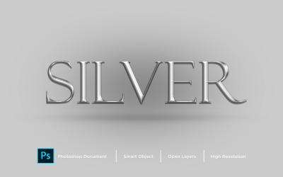 Серебряный текстовый эффект Дизайн Photoshop эффект стиля слоя - Иллюстрация