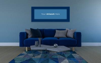 Horizontal photo frame mockup with blue sofa and carpet living room interior design product mockup
