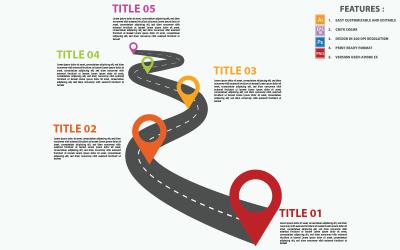 Yol Kavisli Zaman Çizelgesi Vektör Tasarım Infographic Öğeleri
