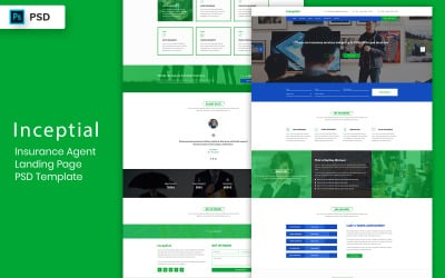 Insurance Agent Landing Page PSD Template UI Elements