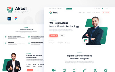 Akcel - Modern Crowdfunding and Charity Website Design Template UI Elements