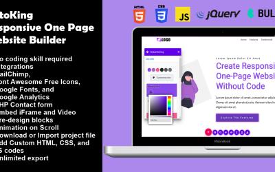 OctoKing - Sürükle ve Bırak Tek Sayfa Web Sitesi Oluşturucu