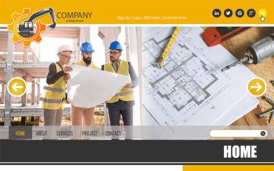 Konstruktion - Konstruktion och byggnad PSD-webb PSD-mall