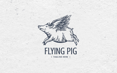 Flying Pig Logo Template