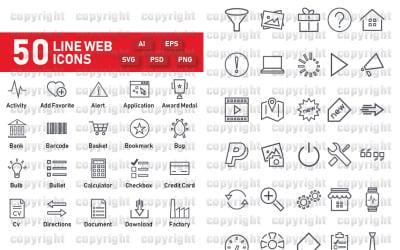 Набор веб-иконок 50 линий