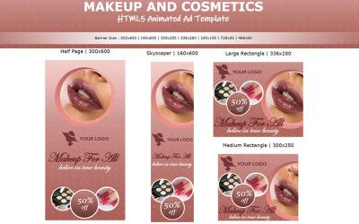 Make-up en cosmetica - Geanimeerde banner met HTML5-advertentiesjabloon