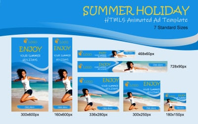 Banner animado de anúncio HTML5 para férias de verão