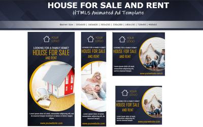 Immobilier - Bannière animée de modèle d'annonce HTML5 pour la vente de maisons