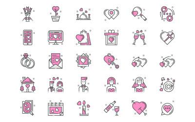 Ensemble d'icônes d'amour et de romance