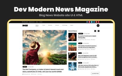 Dev Modern News Magazine Blog Website Template