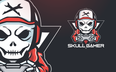 Шаблон логотипа черепа геймера