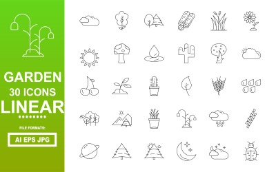 30 Garden Linear Icon Pack