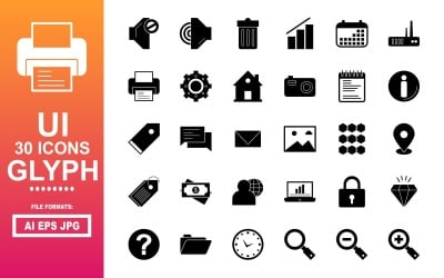 30 User Interface UI Glyph Icon Pack