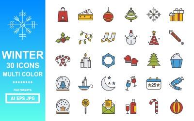 30 Winter Multi Color Icon Pack