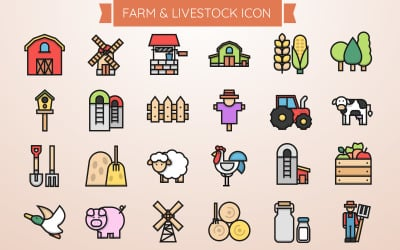 Farm and Livestock Iconset Template