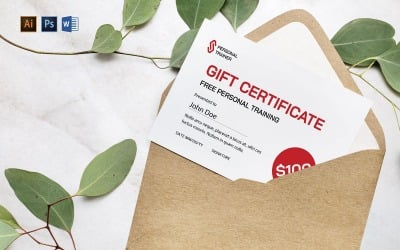 Professional Personal Trainer Gift Certificate Template