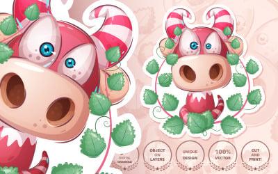 Cartoon Character Dino in Bush - Seamless Pattern Illustration