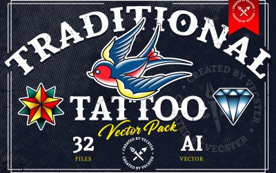 Tradycyjny pakiet wektor tatuaż