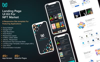 NFT Marketplace HTML5 Website Template and Mobile App Design