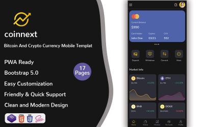 Nextcoin - Mobile Vorlage für Bitcoin- und Kryptowährung (PWA)