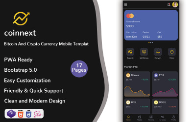 Nextcoin - Modèle mobile Bitcoin et Crypto Currency (PWA)