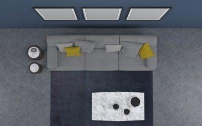 Vista superior do sofá cinza da sala de estar com 12 modelos de produtos