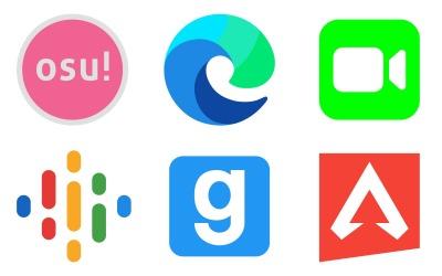 Пакет значков логотипов в цветном стиле