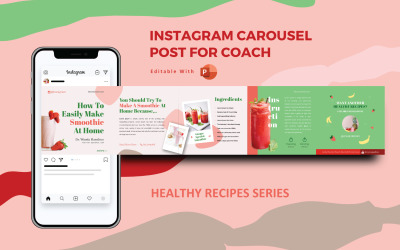 Healthy Recipe Creator Coach - Instagram Carousel Powerpoint Social Media Template