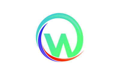 Letter W Colorful Circle Logo Template