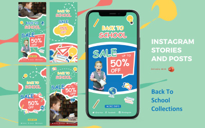 Back to School Instagram Stories and Posts Powerpoint Social Media Template